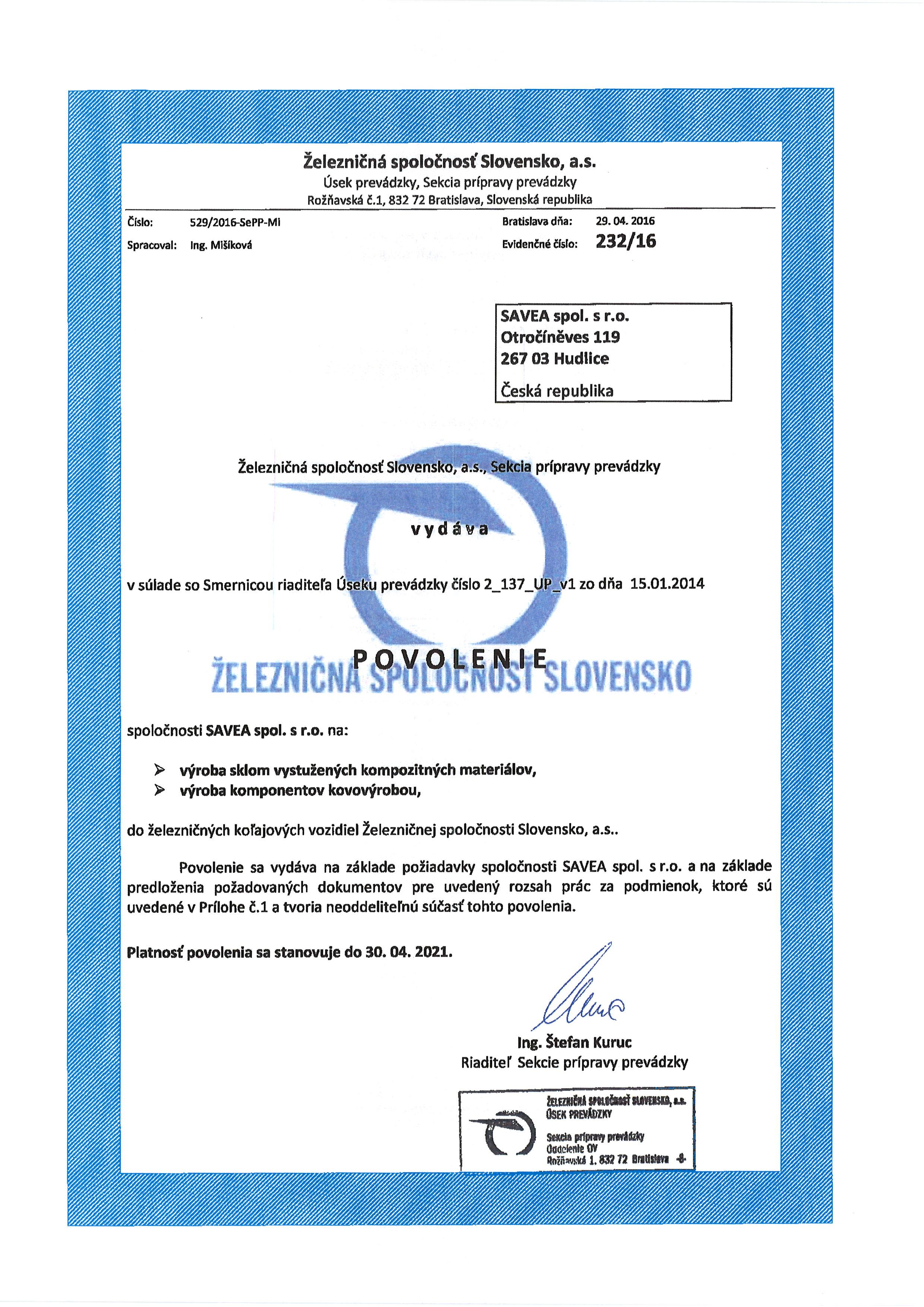 Povolení pro dodávky Železniční společnosti Slovensko