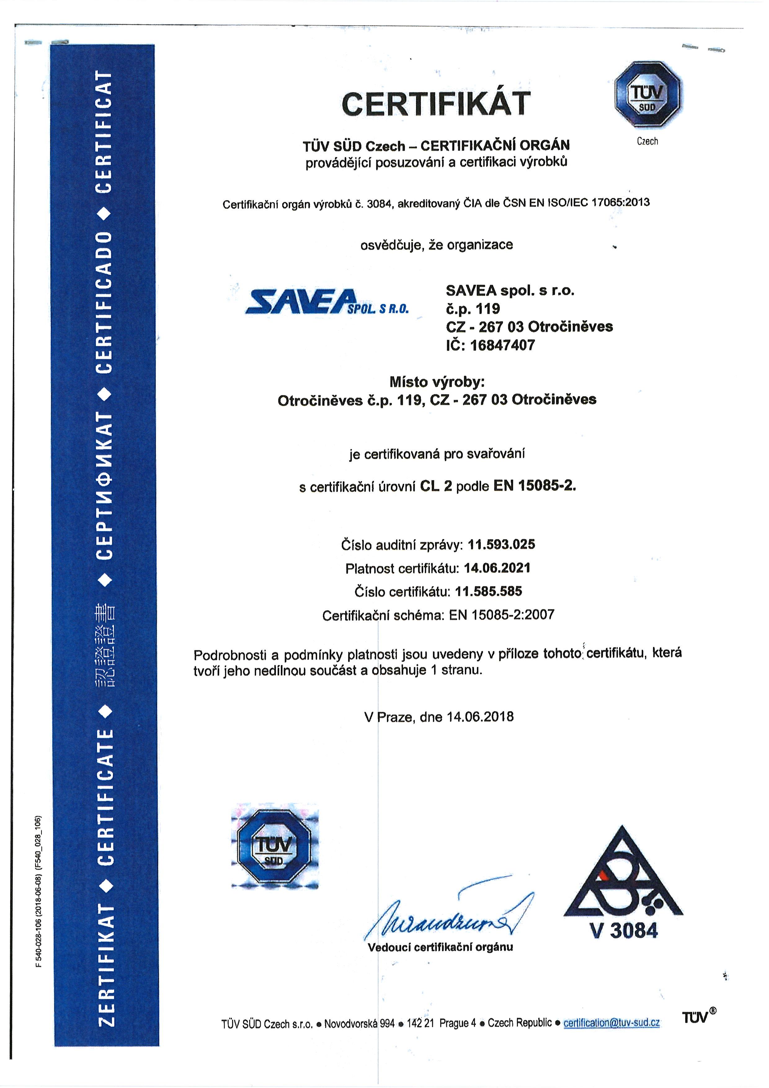 ČSN EN 15085 – 2:2008